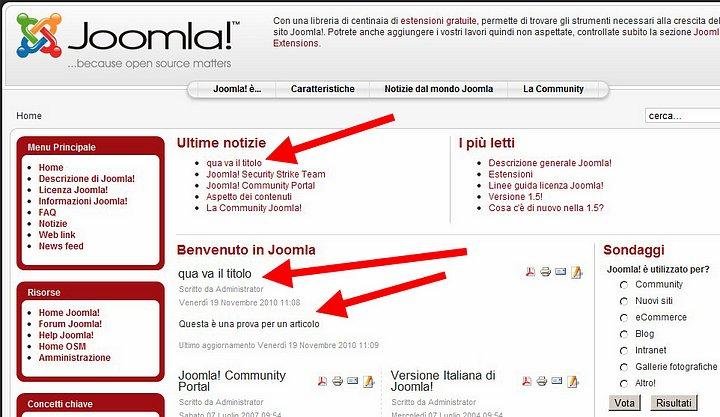 Homepage di un sito fatto con Joomla