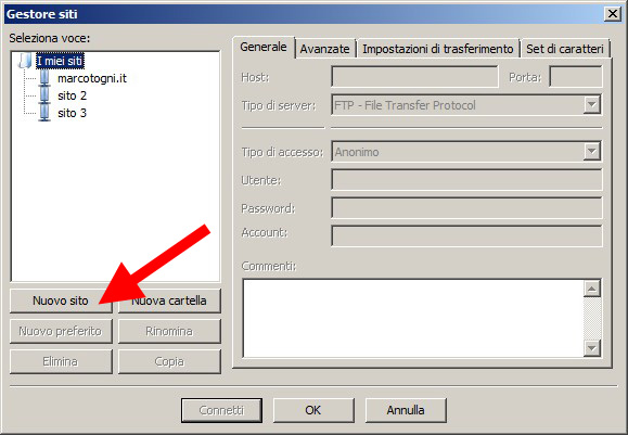 Collegarsi all'ftp con Filezilla