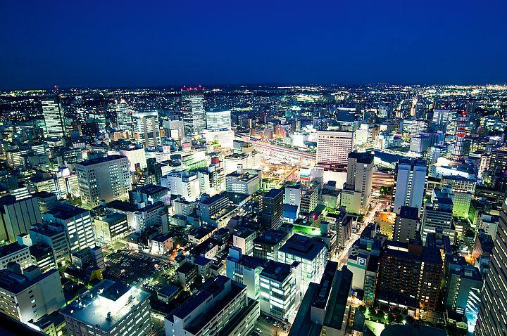 Sendai dall'alto di notte