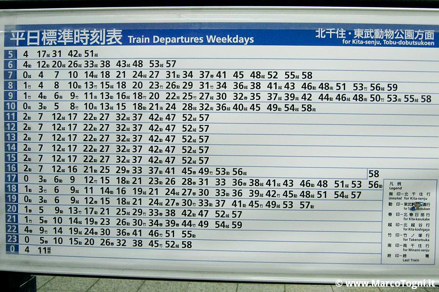 tabella orari treni giapponesi