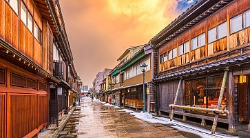 Kanazawa, Japan at  the historic Nishi Chaya District.