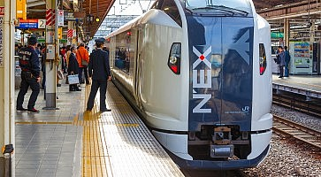 Tokyo, Japan - November 29 2015: Narita Express is a limited express train serves Narita International Airport from various Greater Tokyo Area stations