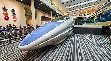 KYOTO, JAPAN - MAY 30, 2016: Shinkansen train inside Railway Museum. It is a railway museum in Shimogyo-ku, Kyoto, open this year