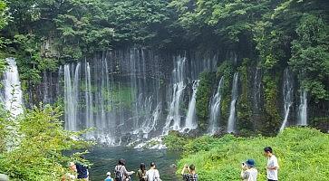 Shiraito waterfall near Mt. Fuji  in Fujinomiya  Prefecture, Japan .