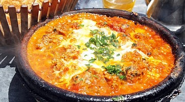 Morocco national dish - tajine of meet with vegetables and meatballs