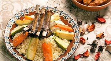 Couscous dish with grilled lamb