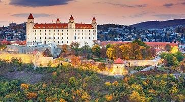 Bratislava castle over Danube river at sunset,Bratislava,Slovakia