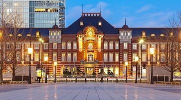 Beautiful Tokyo station building at twilight time